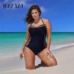 WEIXIA 2018 BIG Size  Bodysuit Bandage Swimwear New Sexy Bikinis Sexy One Piece Totem Swimsuit 9025 Women