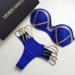 Luoanyfash 2018 New Women Swimsuit Push Up Bandeau Swimwear Beachwear Brazil Bathing Suit Gold Stamping Bikini Set Sexy Padded