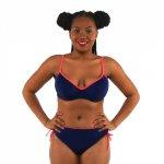 bikini women swimwear sexy sling low waist halter deep v solid color large size big cup bathing swimsuit biquini belt sporty