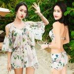 Sexy Bat sleeve print cover-ups 2018 new women Push Up bikini swimwear high waist three piece swimsuit Asia women bathing suits
