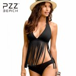 Bikinis Push Up Swimwear Women Biquini Sexy Tassel Swimsuit Fringe Bikini Set Halter Brazilian Women's Swimming Suit Monokini