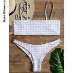 Make Difference Brand Lycra Grid Bandeau Bikini Sexy White Brazilian Thong Tanga Swimwear May Shirred Bottom Swimsuits for Women
