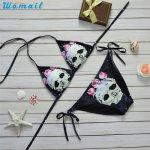 Premium WOMAIL Biniki 2017 Skull Pattern Push-up Padded Bra Backless Sexy Women's Bikinis Sets Swimwear Swimsuit Bikinis