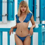 2018 New Sexy Women's Summer Bikini Double-sided Printed Snake Skin Multicolor Tether Shoulder Split Bikini Set