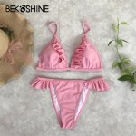 BEKOSHINE 17 Colors Solid White Women Bikini Low Waist Bikini 2018 Sexy Bathing Suit Bandage maillot de bain swimwear bikini set