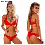 Heal The Summer Women 2018 Hot Sale Bikini Set Swimwear Swimsuit Sexy bikini Top Bottoms Female Red High Quality knot style Gift
