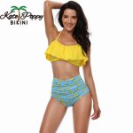 Summer Sexy Floral Printed Swimwear High waist Bandage Bikini Set Push up Halter Tops For Beach Bathing suit