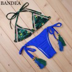 BANDEA Sexy Women Print Bikini Deep Blue Biquini Handmade Fringe Swimwear Summer Style Swimsuit Bathing Suit Beach Swimsuit