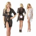 New transparent lace pajamas Transparent Sexy Lingerie Kimono Bathrobe Dressing Gown Kimono Intimate Robe Pajamas suit