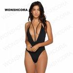 2018 New Black  One Piece Swimsuit Tight High Waist Sunscreen Swimsuits of Large Sizes High Elasticity Sexy Women Bikini Set