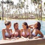New 2018 Summer Sexy Women Bandage Bikini Tops Push-up Pure Color Shell Padded Bra Swimwear Swimsuit Bathing Beachwear