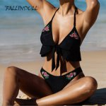 FALLINDOLL  Sexy Bikini high quality embroidery Floral Swimsuit  Push Up Bikini Set Bathing Suit Swimwear Women cotton swimsuit