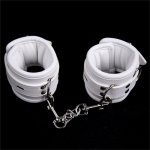 Loverkiss Sexy White Faux Leather Handcuffs or Ankle Cuffs Slave Sex Game Fetish Toys  Sex Bondage Restraints Sex Products