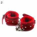 Couple Bondage Faux Leather Plush Cuffs Chain Adult Sex Game Restraint Handcuffs