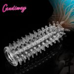 Condoms with spine Crystal Cock Rings Adult Male Sex Product Reusable Condom Sexy Toys Penis Sleeves delay Extension dildo cover