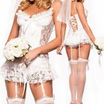 2017 New Sexy Lace White Bride Dress Role-playing Sexy Uniform Temptation Adult Erotic Bridal Sexy For Woman
