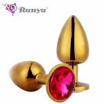 S/M Gold Anal Plug With Crystal Jewelry Smooth Touch Intimate Metal Butt Plug With Rhinestone No Vibrator Bead Anal Tube Sex Toy