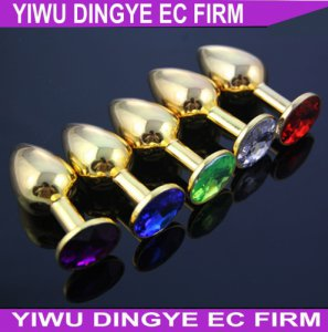 Dingye Anal Toys for Men Gold Stainless Steel Anal Plugs  Diamond Crystal Metal Butt Plugs