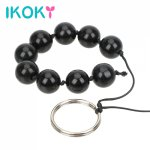 Ikoky, IKOKY Nine Anal Balls Glass Anal Bead Butt Vaginal Plug Ring Handheld Sex Toys for Woman Erotic Adult Products Prostate Massage